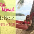 Square Hippie in a hammock on a beach. It't the featured image and says Digital Nomad Job Number 2, Translator