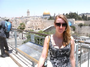 Jenny in Jerusalem  before she quit science to travel