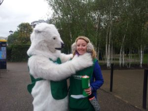 Jenny with Greenpeace Polar Bear before she quit science to travel